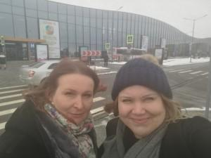 Evilina Lutfi and Suvi Häkämies from Green Net Finland in front of St.Petersburg EXPOFORUM on 22 March 2018.